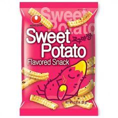 Nongshim Sweet Potato Snack (◕ᴥ◕) Kawaii Panda - Making Life Cuter Korean Sweet Potato, Sweet Potato Chips, Lunch Snacks, Yummy Snacks, Snack Recipes, Kawaii, Potato Snacks, Asian Snacks, Japanese Candy