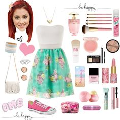 Very girly and cute - cat valentine/ariana grande! Cute Lazy Outfits, Girly Outfits, Polyvore Outfits, Cat Valentine Outfits, Cute Fashion, Fashion Wear, Fashion Clothes, Middle School Outfits, Outfit Des Tages