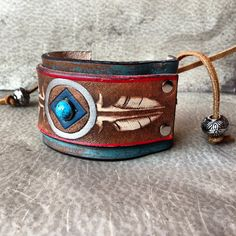 Native American Stamped Leather Feather Cuff Bracelet / Indian Leather Jewelry / Handmade