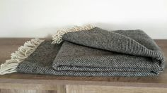 Charcoal grey wool blanket . Coverlet. Organic wool by CottonMood