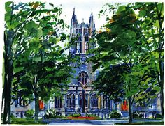 Linden Lane, approaching Gasson Hall - artist's beautiful rendering