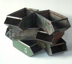 Vintage Industrial Metal Stacking Bins / Storage Organization / Industrial Decor