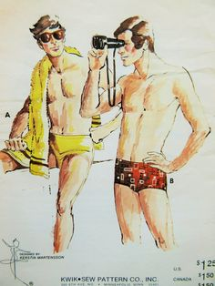 Vintage Kwik Sew 652 Sewing Pattern, 1970s Men's Swim Trunks, Man's Swimsuit, Men's Swimsuit, Bathing Suit Pattern, Waist 36 to 40, Supply by sewbettyanddot on Etsy