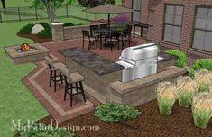 Large Brick Patio Design with Grill Station with Attached Bar, a Seating Wall and Stone Fire Pit. | Plan No. 1145rr | Download Installation Plan at MyPatioDesign.com