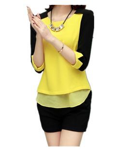 shirt hollister on sale at reasonable prices, buy Women Blouses Chiffon Blusa Feminina Casual Shirts Women Camisas Femininas O-Neck Casual Patchwork Chiffon Shirt Women Tops from mobile site on Aliexpress Now! Chiffon Shirt, Chiffon Tops, Casual Shirts, Casual Outfits, Hijab Fashion, Blouse Designs, Blouses For Women, Ideias Fashion, Fashion Looks