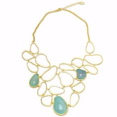 Organic Shapes Bib Necklace with Stones by Sheila Fajl