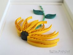 Flower SUNFLOWER paper quilling picture HOMEWARE frame white YELLOW summer via Etsy
