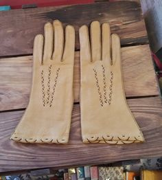 Vintage Gloves Genuine Deer Skin Size 7 Honey Color & So Soft 50's 60's Mid Century Fashion Accessory Ladies Leather Driving Gloves by OffbeatAvenue on Etsy
