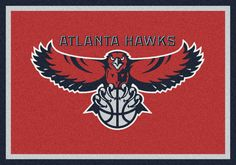 Atlanta Hawks Area Rug Perfect for your den or living room, Licensed NBA Rug with team logos and team colors. 100% STAINMASTER®. On Sale Now!