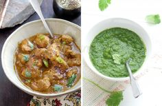 Curried Chicken in Cilantro Chili Pepper Sauce | 1.2 lbs chicken, skinless + with or without bones 2.2 tablespoons lime juice  3.3 lbs tomatoes  4.10 green hot chili pepper, Thai- bird kind 5.8 cloves of garlic 6.2″ piece of ginger 7.1 teaspoon turmeric + 1 teaspoon turmeric 8.1/2 cup oil 9.2 whole big black cardamom 10.1/2 teaspoon cumin seeds 11.2 teaspoons garam masala 12.salt 13.more hot chili pepper for garnish
