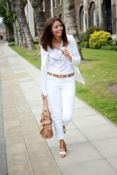 RORESS closet ideas fashion All-White Outfit Idea for Women All White Outfit, White Outfits, Jean Outfits, Casual Outfits, Outfits 2016, Work Outfits, Outfit Jeans, Vintage Outfits, Look Fashion