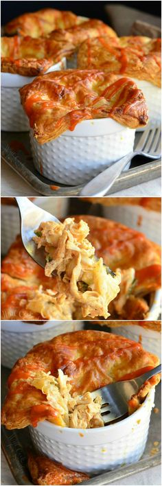 Scrumptious buffalo chicken dinner made into individual pot pies. Little pots stuffed with a delicious mixture of shredded chicken, cauliflower, celery, creamy buffalo sauce mixture and baked with flaky pastry on top. Pie Recipes, Great Recipes, Chicken Recipes, Cooking Recipes, Favorite Recipes, Dinner Recipes, Chicken Ideas, Food Dishes, Dinner Dishes