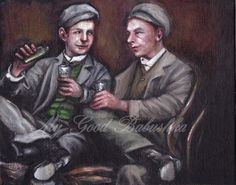 The Drinking Companions, Original Painting, Men, Friendship, 1920s, 1930s, Friendship, Sharing a Drink, Flask, Conversation, Portrait by mygoodbabushka on Etsy