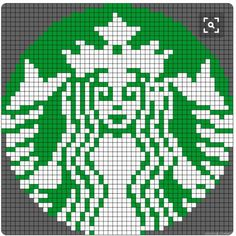 Starbucks logo made with Perler Beads. This is perfect for a Starbucks lover! Then again, who doesn't love Starbucks? Perler Beads, Perler Bead Art, Fuse Beads, Hama Beads Patterns, Beading Patterns, Cross Stitch Designs, Cross Stitch Patterns, Modele Pixel Art, Pixel Pattern