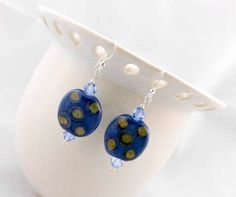 Beaded Earrings  Kazuri Beads with Swarovski by kitscreations