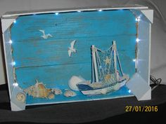 Picture result for tinkering with mandarin boxes Diy Christmas Village Platform, Beach Crafts, Diy And Crafts, Wine Decor, Shell Crafts, Beach Themes, Trees To Plant, Christmas Diy, Xmas