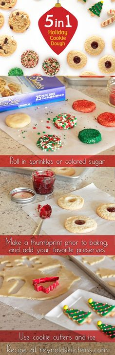 1 batch of dough makes 5 different kinds of holiday cookies