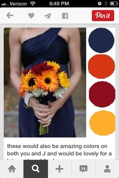 Navy, orange or burnt, plum, scarlet red, hits of yellow
