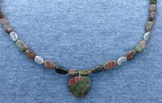 Unakite Heart and Ovals with Silver Leaves by BeriMadeJewelry, $25.00