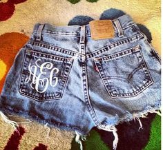Monogrammed High Waisted Denim Shorts Custom Made Preppy Initial Shorts Sorority Tumblr Hipster. $60.00, via Etsy.