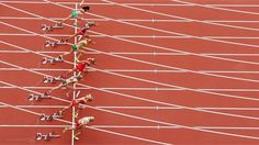 The start of the women's Heptathlon 100m Hurdles Heat 1 on Day 7 of the London 2012 Olympic Games at the Olympic Stadium.