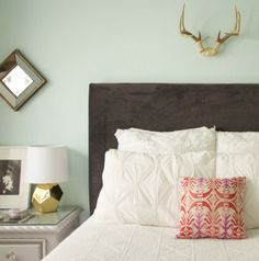 a couple things i like about this: the antlers above the bed and the contrast between the white comforter with the splash of color. could do in red/navy blue/green for his/her bedroom
