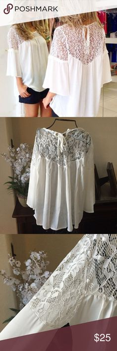 Lace Embroidered Chiffon Blouse Gorgeous! Sexy Sheer Lace Embroidered yolk and top sleeve and semi-sheer body! Light ivory color and loose fit!! Tops Blouses