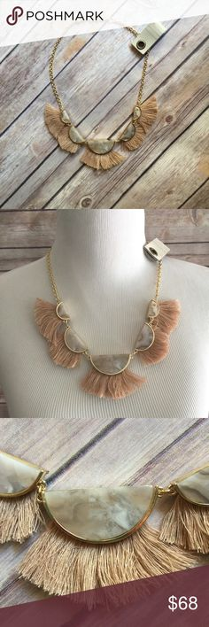 """Anthropologie Stone Tassel Necklace on Gold Chain Beautiful and effortlessly boho, just like all of Anthropologie's line! Length 22"""" a great piece to add a chic statement to any outfit! Anthropologie Jewelry Necklaces"""