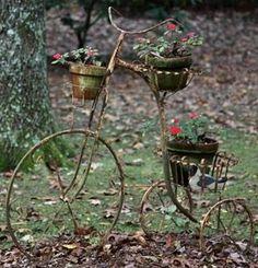 rustic bike planter
