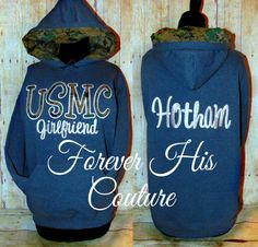 USMC Girlfriend hoodie w/ USMC Digital woodland camo lined in the hood.   Great way to support your Marine while he's at bootcamp or deployed!.