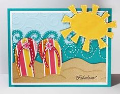 Cricut Summer/Beach Card. Doodlecharms, Paper Dolls for Everyday and Life's A Beach Cartridges.  *