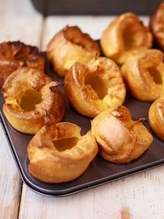 Yorkshire Puddings - Jamie Oliver Made these in mini muffin tins. A half batch f. CLICK Image for full details Yorkshire Puddings - Jamie Oliver Made these in mini muffin tins. A half batch fills 12 mini muffins. Yorkshire Pudding Jamie Oliver, Yorkshire Pudding Gordon Ramsey, Easy Yorkshire Pudding Recipe, Yorkshire Recipes, Yorkshire Pudding With Gravy, Yorkshire Pudding Olive Oil, Roast Dinner Yorkshire Pudding, Traditional Yorkshire Pudding Recipe, Gourmet