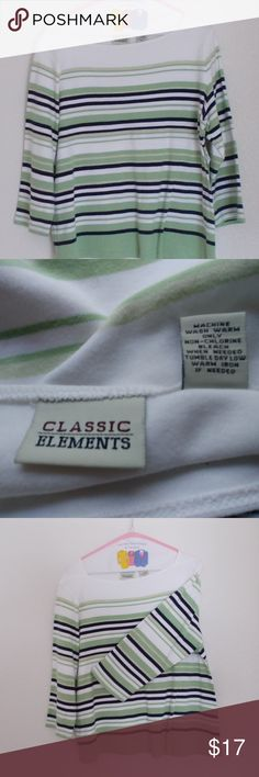 Classic Elements green/blue/striped boatneck Classic Elements green/blue/white striped 100% cotton knit shirt. machine washable. long sleeve.   Size Large - 38 chest, 29 length.  Please message me with any questions. Ask if additional size detail is needed.   15% discount for 3+ item bundles. Check out my closet. Happy Poshing!  See photos for details. Smoke free, pet friendly home.  17/CN Classic Elements Tops
