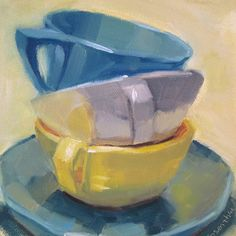 Robin Rosenthal's Paintings: Stacked Colored Cups