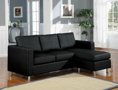 2 pc black bycast leather like vinyl upholstered reversible chaise sectional sofa with chrome legs