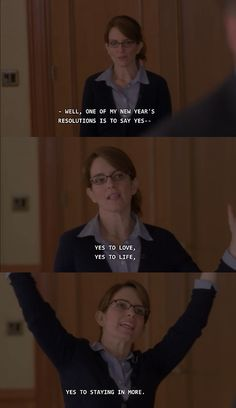 """30 Rock Season 5 Episode 11: Mrs. Donaghy. Liz Lemon, """"Yes to love, yes to life, yes to staying in more!"""""""