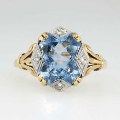Pretty 1930's Blue Spinel and Diamond Two Tone Ring 10k | Antique and Estate Jewelry | JewelryFinds