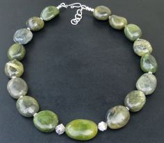 Chunky Jade Necklace  Green Nugget Necklace  Sterling by OmiSilver