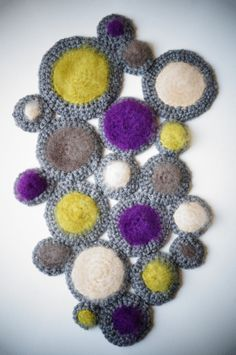 Vintage Inspired Bubble Art Piece / Purple Wall Art / Yarn Wall Hanging / Freeform Crochet Wall Hanging
