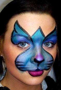 Blue Cat Face Painting Mask.
