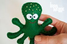 Octopus felt fridge magnet green sea creatures by IrraNellie, $10.00
