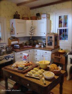 Kathleen Holmes' Dollhouse Kitchen Making Croissants