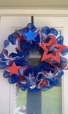 Patriotic Mesh Deco Wreath by SouthernWreathDesign on Etsy, $70.00