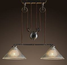 Industrial Pulley Double Pendant Lamp Restoration Hardware I like it Pool Table Lighting, Home Lighting, Kitchen Lighting, Lighting Design, Bar Lighting, Studio Lighting, Island Lighting, Bathroom Lighting, Industrial Light Fixtures