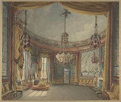 The Saloon, Brighton Pavilion  Auguste Charles Pugin (British (born France), Paris 1768/1769–1832 London)  Date: ca. 1826 Medium: Watercolor over graphite with touches of gouache