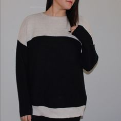3e8b1ed5be Very cozy UO sweater BDG brand light tan/cream and black color block knit  sweater.