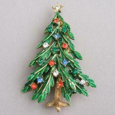 Enamel and Rhinestone Christmas Tree Brooch