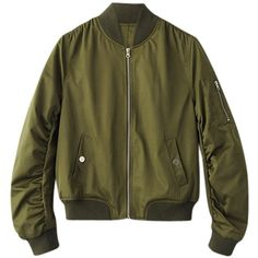 Shirred Flight Jacket ($50) ❤ liked on Polyvore featuring outerwear, jackets, blouson jacket, bomber jackets, ruched jacket, flight jackets and bomber style jacket