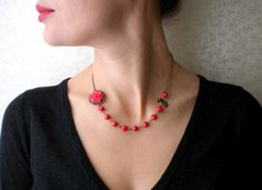 Flower Red Necklace Bow Necklace One Strand Beadwork Necklace on Etsy, $26.00