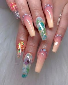 The most popular coffin nails designs come. You can draw great inspiration from each of these beautiful nails! Get ready to save it all! Dope Nails, Glam Nails, Neon Nails, Beauty Nails, My Nails, Crazy Nails, Nails Today, Crazy Nail Art, Glitter Nails